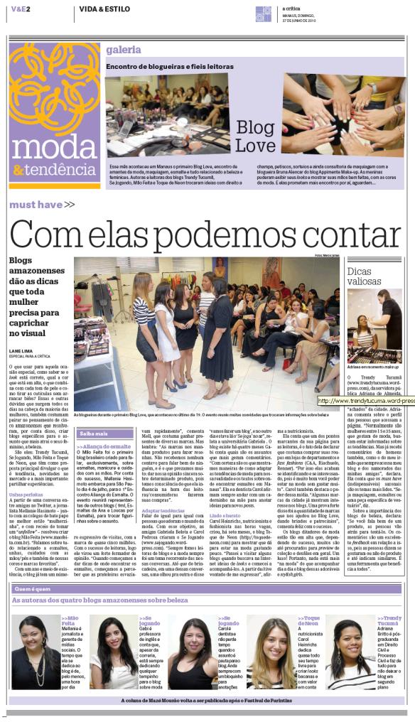 """Matéria no jornal """"A Crítica"""""""